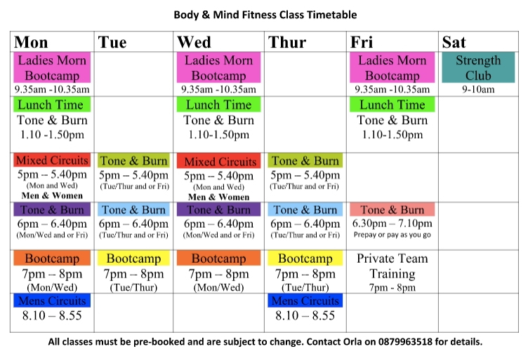 Body and Mind Fitness Class Timetable